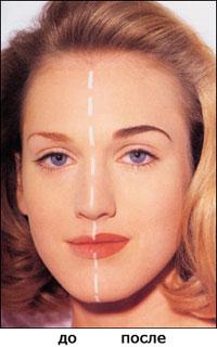Контурный макияж - до и после применения контурного макияжа